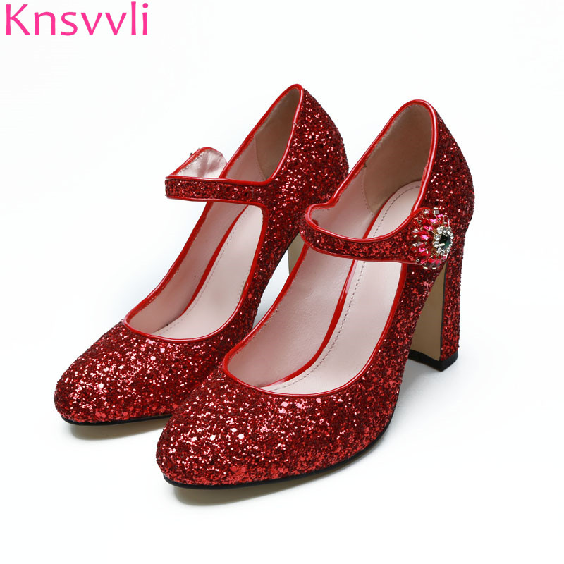 Pumps Women Shoes Red Bling Bling Squines Crystal ankle Buckle Wedding Party Shoes Chunky high Heels Woman Mary Janes shoes ekoak new 2018 handmade women pumps party wedding shoes woman fashion super high heels platform shoes mary janes women shoes