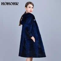 HDHOHR 2019 Hot Real Mink Fur Coat Women Natural Fur Coats With Mink Hood Long Strip Warm Jackets Lady Full Length Real Fur Coat