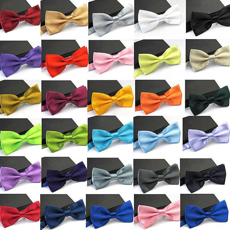 35 Colors Solid Fashion Bowties Groom Men Kids formal Colourful Solid Cravat gravata Male Marriage Butterfly Wedding Bow ties