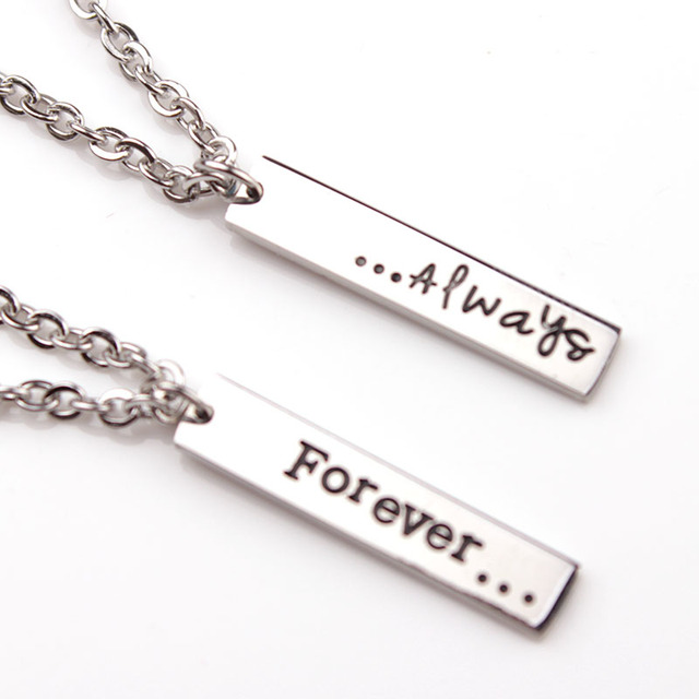 Stainless Steel Couple Necklace Forever Always Pendant Necklace Valentineu0027s  Day Gift For Girlfriend Boyfriend Best Lovers