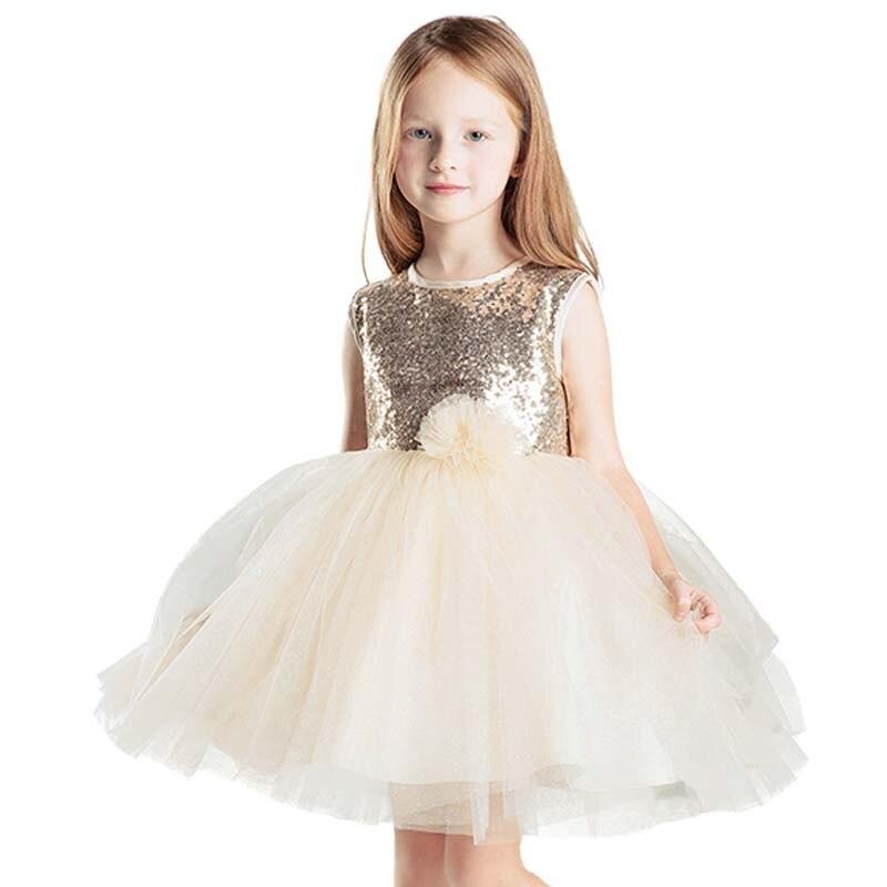 ФОТО Top Quality Elegant Girl Formal Dress baby summer children girls shining tutu Flower dress sequin dress girl Evening Dress