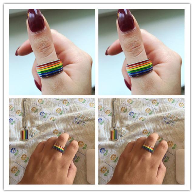 Fashion Classic Men Women Rainbow Colorful Ring Titanium Steel