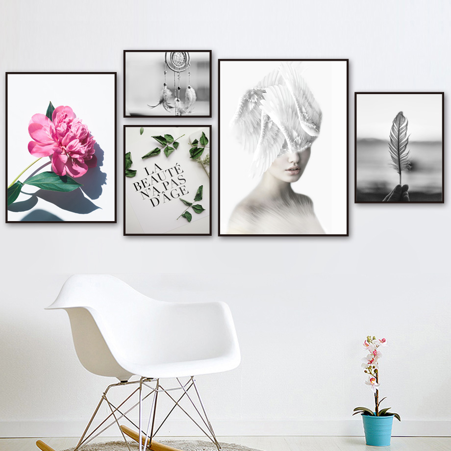Girl Feather Flower Leaves Landscape Wall Art Canvas Painting Nordic Posters And Prints Wall Pictures For Living Room Home Decor
