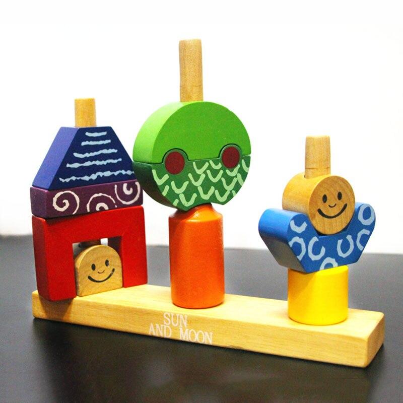 En bois forme couleur bloc soleil lune bricolage main travail match Blocs de Construction 48 off multi-niveau logique jeu pilier jeu d'anniversaire cadeau