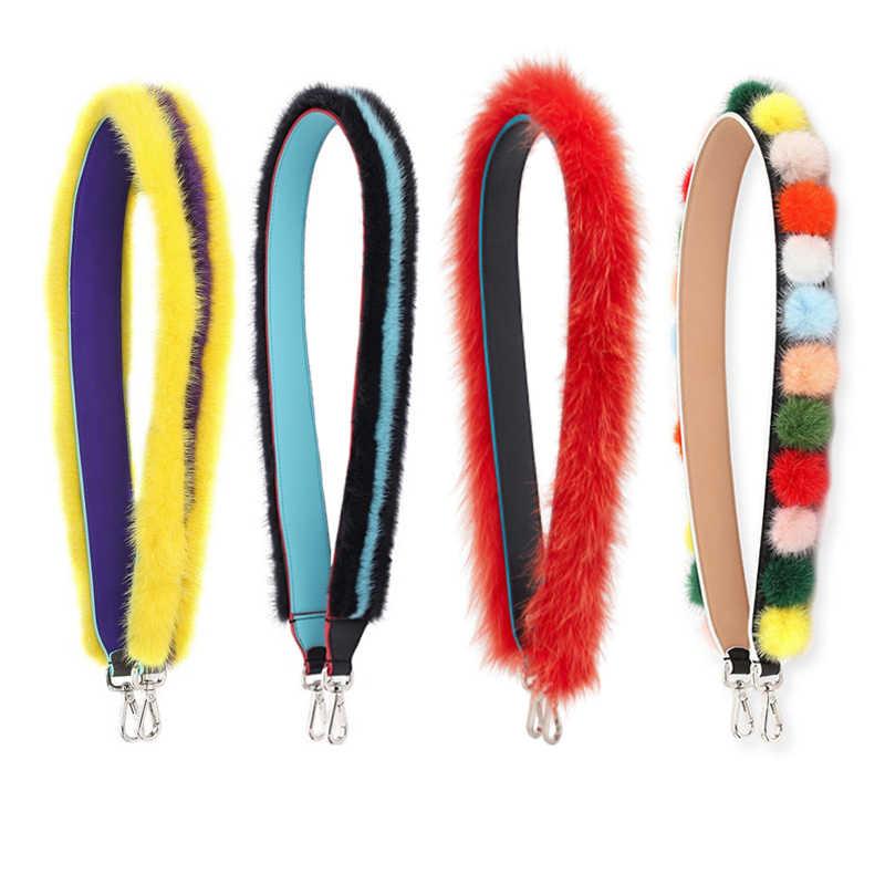 New Patchwork Color Fur Design Women Handbags Strap Fashion Shoulder Bag  Strap Chic Handle Bag Belts b16d2c9fe670a