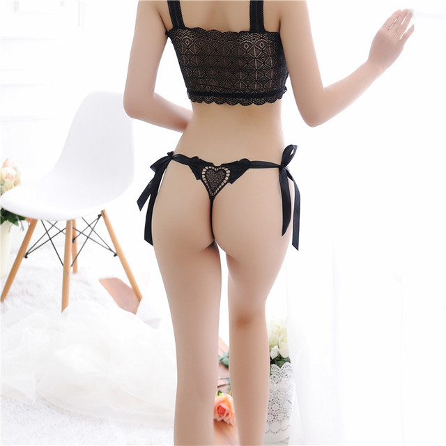 667cdceabe Romantic Love Tangas Women Sexy Underwear Bandage Thongs Lace Panties  Lovely G-strings Transparent Briefs Culotte Femme