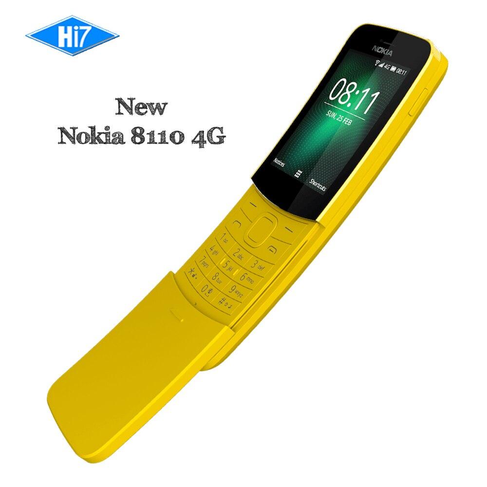 New Original Nokia 8110 4g 2018 Débloqué GSM 4g Téléphone Portable 2.4 1500 mah couvercle Coulissant QWERTY Clavier double Sim 2.0MP Mobile Téléphone