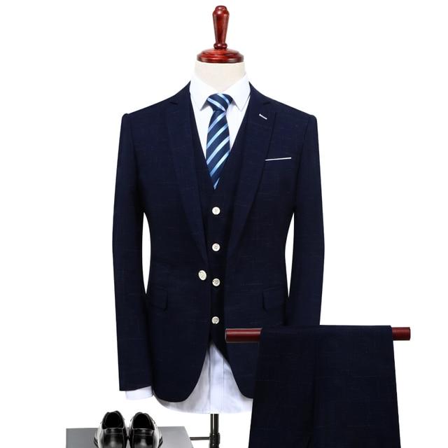 MarKyi fashion 2017 light plaid mens suits wedding groom plus size 4xl single button silk tuxedo navy mens suits