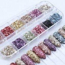 Conjunto de brillo de uñas de vidrio Borken de Color mixto, Color dorado, Morado, forma Irregular, polvo para uñas, lentejuelas, esmalte, puntas 3D, manicura, LALY