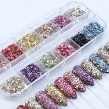 Mix Color Borken Glass Nail Glitter Set Gold Purple Irregular Shape Nails Art Powder Sequins Polish 3D Tips Manicure LALY
