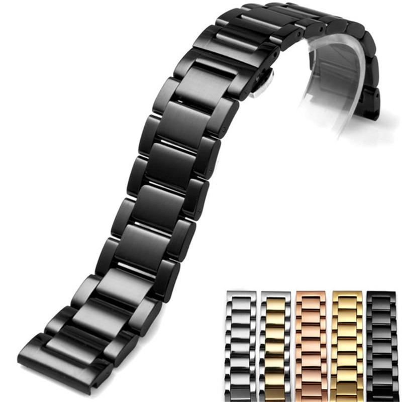Image 2 - لامع ماتي المزدوج اللون الفولاذ الصلب حزام (استيك) ساعة فراشة مشبك قفل استبدال حزام ساعة اليد 16 18 20 21 مللي متر 22 23 24 26 مللي مترأشرطة ساعة اليدالساعات -