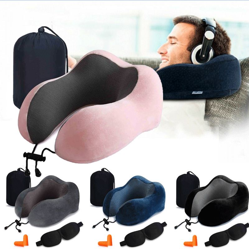 High Quality Memory Foam U Shaped Travel Pillow Neck Support Airplane Headrest Travel Pillows image