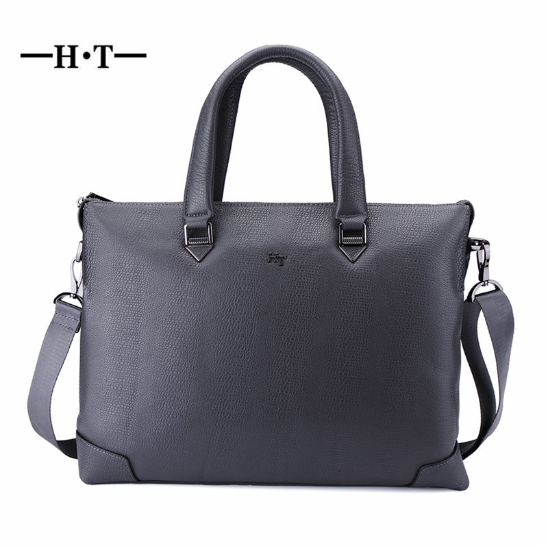 купить HT Cow Leather Handbag Mens Shoulder Bags Genuine Leather Crossbody Bag Male Messenger Bags Top Handle Bolsos Business Briefcase онлайн