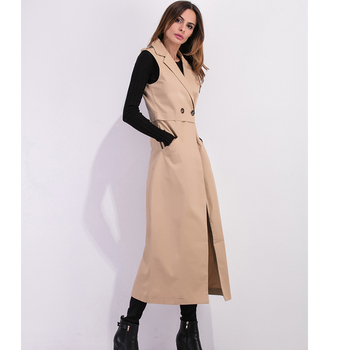 Zioksy 2017 Women X-Long Coat Double Breasted Slim Suit Collar  Soild vest sleeveless Trench Coat Outwears 2