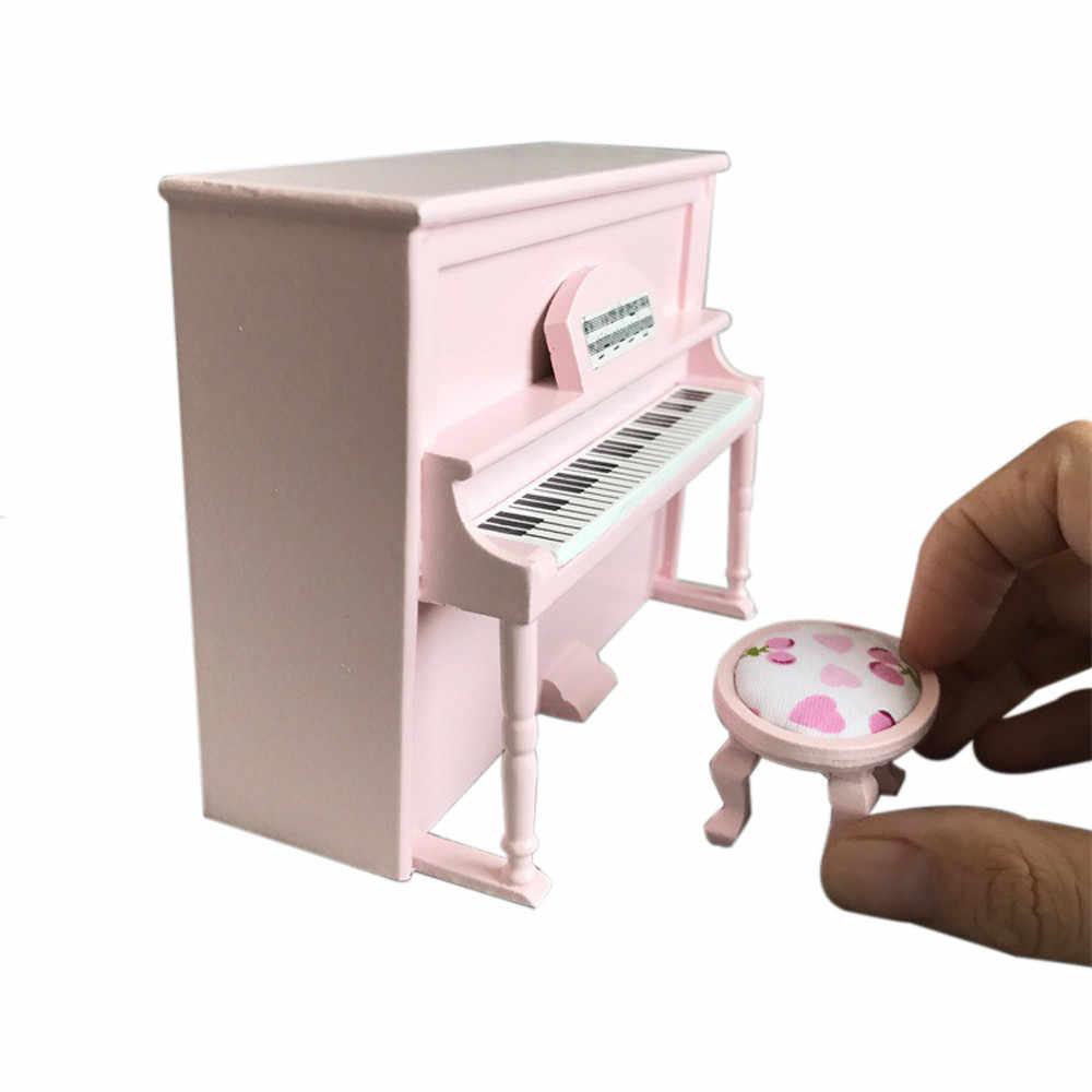 Кукольный домик Миниатюрный деревянный Черный Вертикальный пианино мини-кукла Масштаб Модель для 1/12 кукольный домик аксессуары для миниатюрного кукольного домика комплект