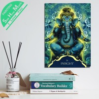 1 Piece Ganesh Insight Word Blue HD Printed Canvas Wall Art Posters and Prints Poster Painting Framed Artwork Room Decoration