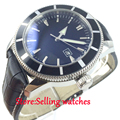 46mm Bliger black dial luminous marks sub automatic mens wrist watch