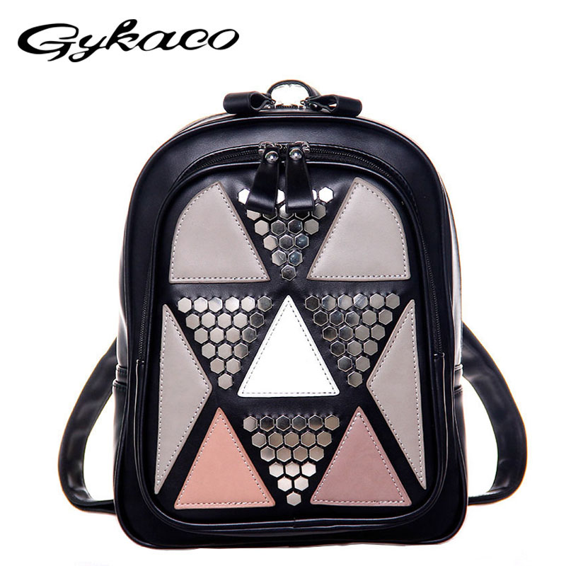 Autumn Women Backpack Geometric Rivet Backpack Female School Bags High Quality PU Leather Backpacks for Teenagers Girls Mochila harry potter and the goblet of fire аудиокнига на 17 cd