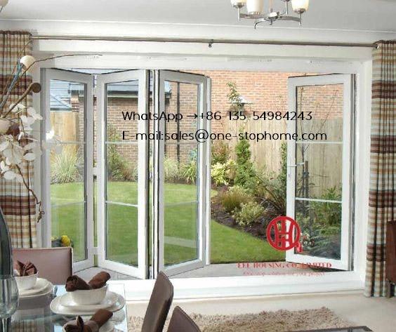 Porte en verre trempé intérieur de cadre en aluminium, porte bi-pliante en verre de profil en aluminium à double vitrage de 3 ou 4 vitres adaptées aux besoins du client