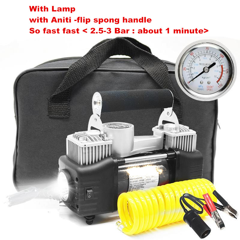 car the air pump car tires play pump automobiles tools maintenance care inflatable pump organizer supplies gear items products Premium Double Cylinder With emgency Lamp Car Air Compressor Car Tire Inflatable Pump + aniti -flip sponge handle + stand mat