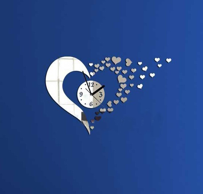 2015 Warm Home Decoration & Modern Style Sweet Heart DIY Mirror Wall Clock Wall Sticker Home Decoration miroir decoration Smile
