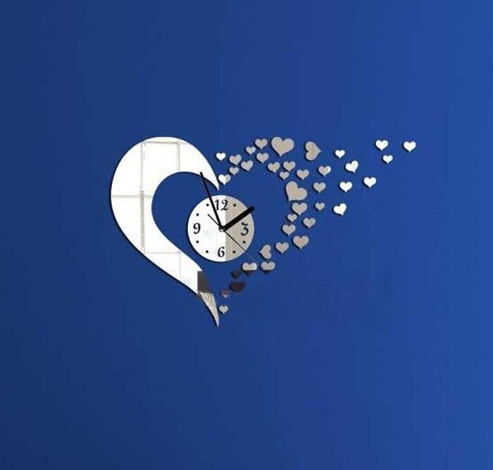 2015 Warm Home Decoration & Modern Style Sweet Heart DIY Mirror Wall Clock Wall Sticker Home Decoration miroir decoration Smile