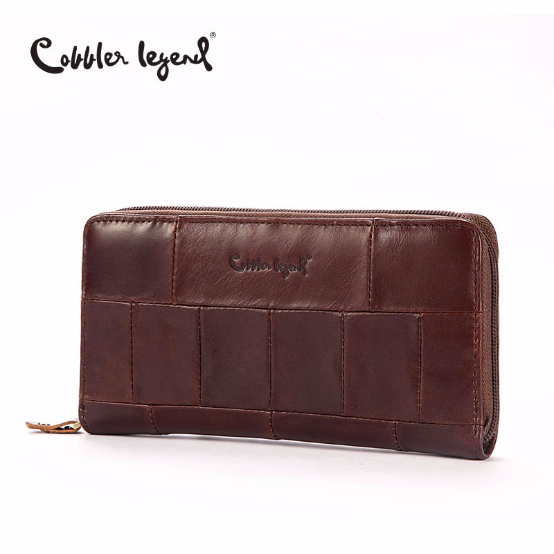 Cobbler Legend Brand Designer Casual Women Wallet Äkta Läder Lång Plånbok För Damer Myntkort Purses For Female Coin Pocket