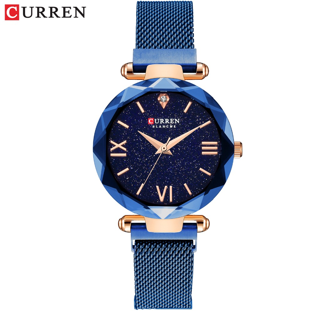 CURREN Fashion Blue Women Watch Minimalism Simple Stylish Luxury Casual Lady Watches Waterproof Dress Wristwatch For Female