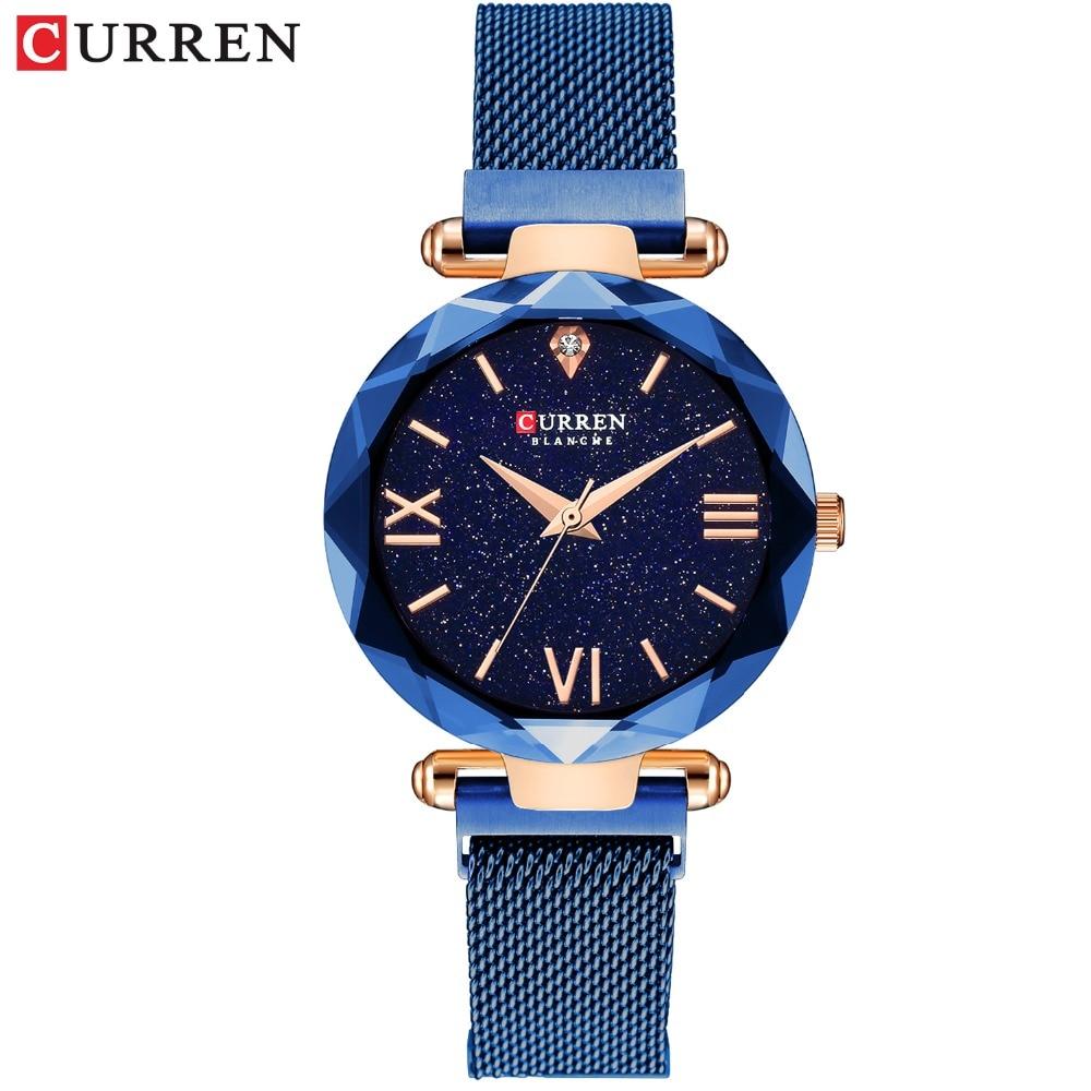 CURREN Fashion Blue Women Watch Minimalism Simple Stylish Luxury Casual Lady Watches Waterproof Dress Wristwatch For Female