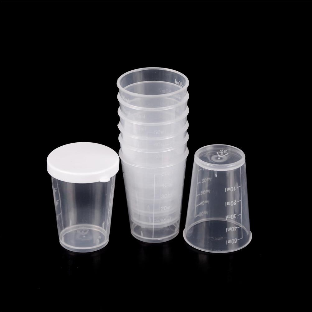10Pcs/set 50ml Plastic Graduated Laboratory Bottle Lab Test Measuring Container Cups with Cap Plastic Liquid Measuring Cups