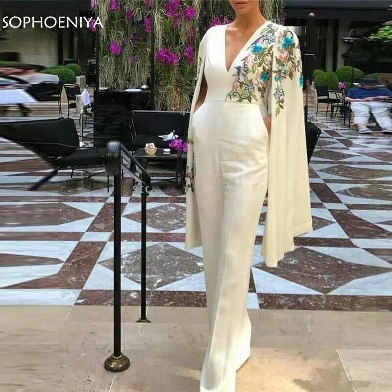 New Arrival Ivory   evening     dresses   2019 Jumpsuit Dubai Arabic   Evening     Dress   Party Pants Sexy formal   dress     Evening   gowns