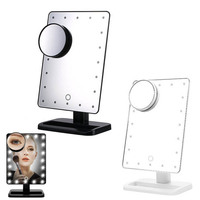 20 LED Lights Makeup Cosmetic Mirror 180 Degree Rotate Mirrors With Removable 10x Magnifying Mirrors
