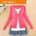 Caliente venta de primavera último precio barato moda mujeres abrigo amor pequeño corazón suéter más tamaño Cardigan de punto mujer Print Tee Tops