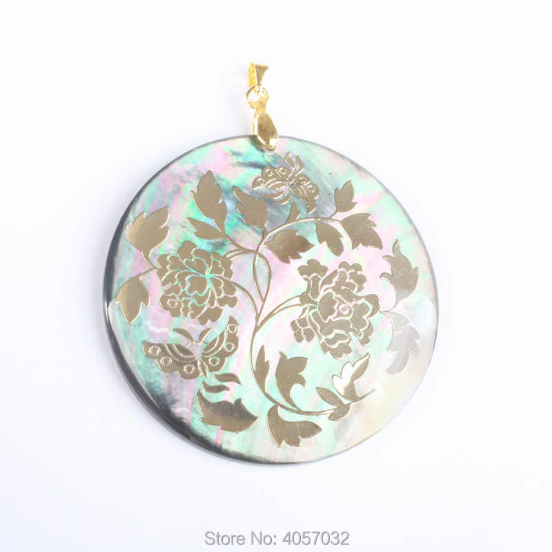 50X50MM Mother of Pearl Shell Bead Flowers Oblate Golden Yellow Pendant 1 PCS