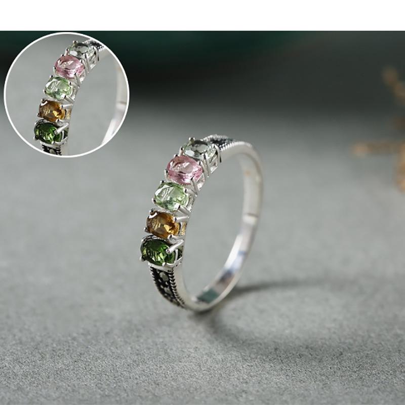 Authentique 925 bague en argent avec Tourmaline naturelle pierre colorée femmes anneaux élégant Bijoux fins Bijoux - 4