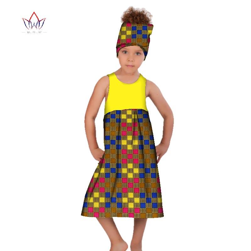 2019 africain femmes vêtements enfants dashiki traditionnel coton robes correspondant afrique imprimer fille robe été coton BRW WYt161