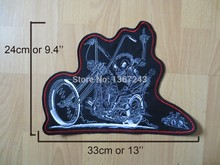 Huge Ride Free skull 13'' inches large Embroidery Patches for Jacket back vest Motorcycle Biker 33cm *24cm