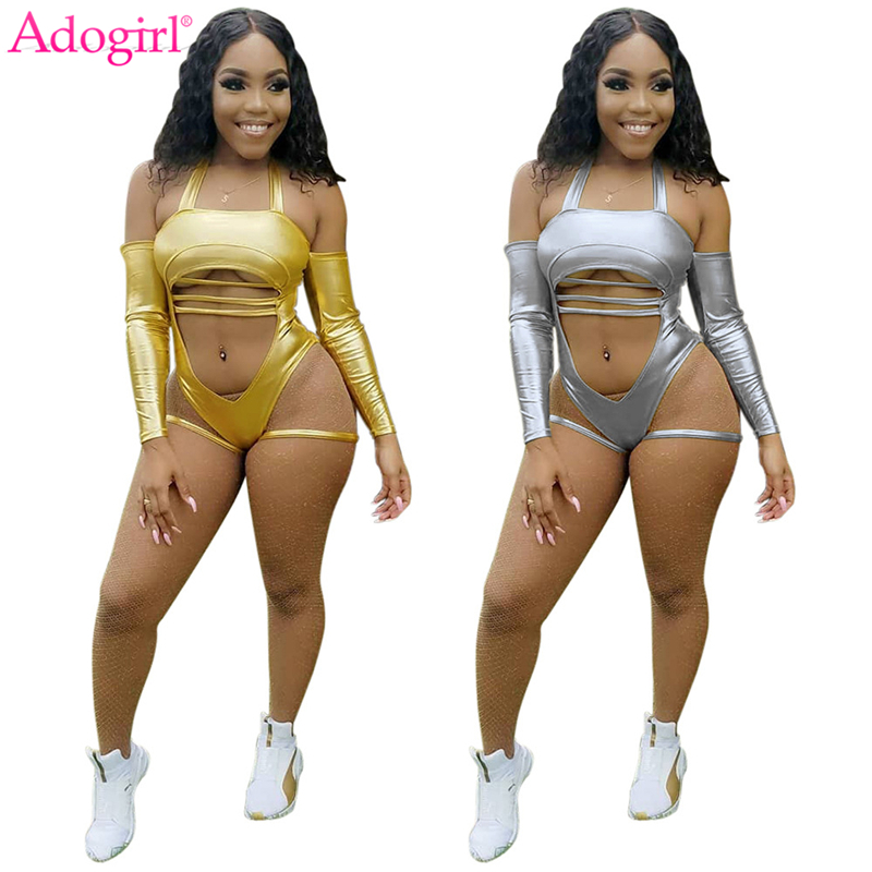 Adogirl Sexy Midriff-baring Gilding Club Bodysuits Long Sleeve Halter Beach Bathing Suit Women Jumpsuits Summer Playsuit Overall