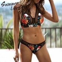 e2c01bb0d شبكة مثير بيكيني 2019 شفافة طباعة ملابس السباحة الإناث السباحون رفع ثوب  السباحة مثلث أسود ملابس