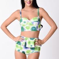 Sexy Printed Swimsuit Women High Waist Bikini Set Halter Bandage Bikini Plus Size Swimwear Female Bandeau