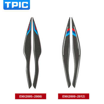 TPIC Carbon Fiber Headlights Eyebrows Eyelids Car Stickers For BMW E90 Front Headlamp Eyebrows 3 series 2005-2012 accessories