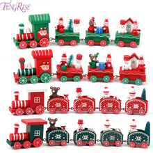 FENGRISE Christmas Home Little Train Wooden Gifts Natal Navidad Ornaments Children Christmas Decoration Pendant Drop Ornaments 4 section little train christmas ornaments