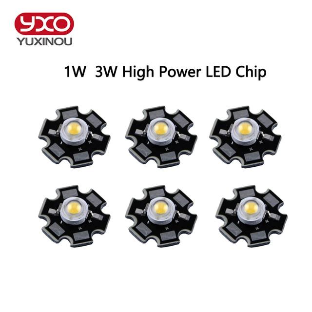 10 unids/lote Epistar 3 W/1 W led chips lámpara diodo cálido/frío/blanco natural/Blanco/rojo/amarillo/azul/Verde/UV para cultivo de acuario
