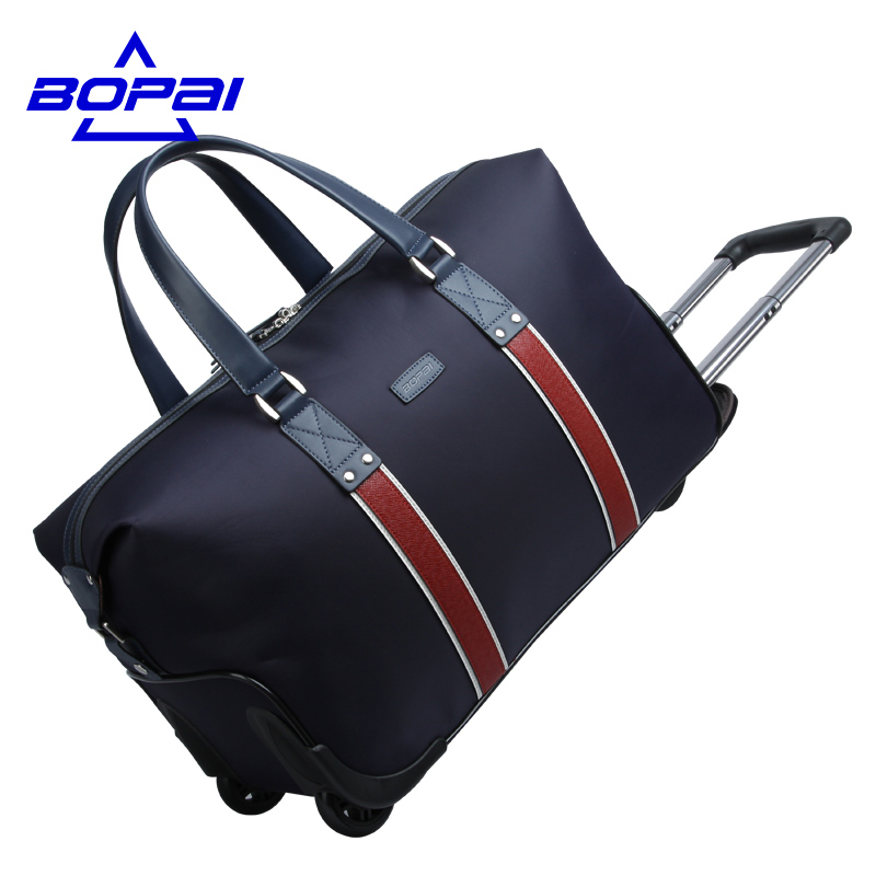 BOPAI High Quality Trolley Luggage Waterproof Travel Bags with Wheels Large Capacity trolley travel bag rolling luggage bags pro biker motorcycle saddle bag pattern luggage large capacity off road motorbike racing tool tail bags trip travel luggage