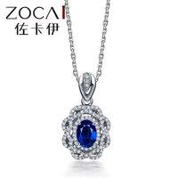 ZOCAI Цепочки и ожерелья голубой розы Series18K белого золота 0,90 КТ Сертифицированный овальным вырезом Сапфир с Шри Ланки драгоценный камень куло