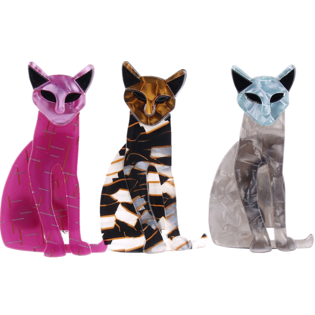 Fant&jack Acrylic cat Brooches Pins For Women Ladies Resin Animal Brooch Scarf Badges Accessories Gifts limited edition