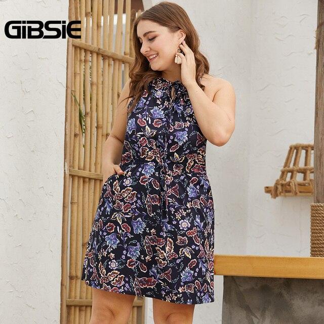 GIBSIE Plus Size Tie Neck Print Bodycon Short Dress For Women 2019 Summer Casual Pocket Sleeveless Halter Mini Dresses 5