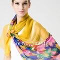 New2014hotsale женщины 100% чистого шелк шарф женское большие длинная цветочный принт желтый шелк шарф платки шарфы