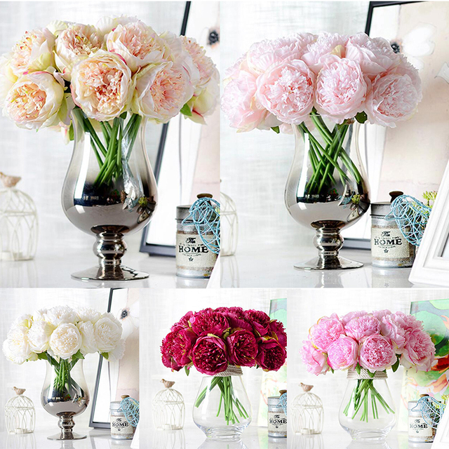 Artifical Peony Silk Flower Wedding Bouquet Office Decoration Home ...