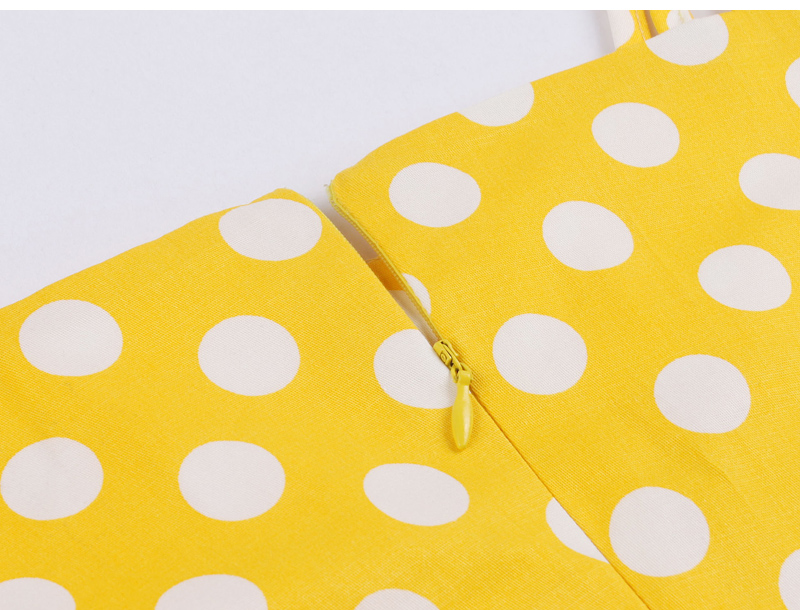 Tonval Pin Up Polka Dot Vintage 1950S Yellow Dress Women Tie Front Spaghetti Strap Summer Dress A Line Cotton Dresses